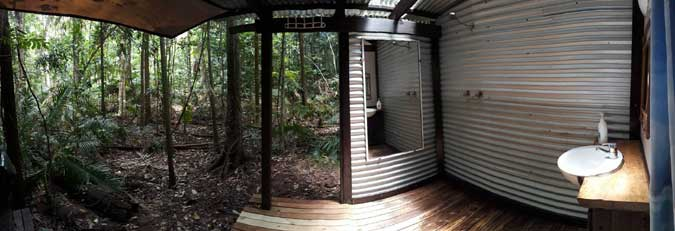 outdoor bathroom of this self contained accommodation