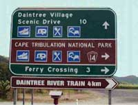 sign on the way to cape tribulation